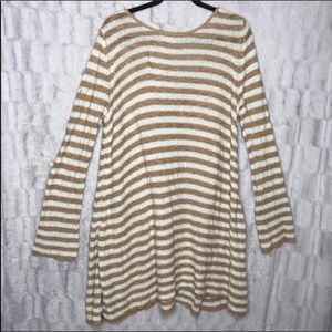 Free People Swing Stripe Deep V Tunic Sweater